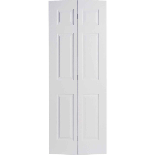 Masonite 36 In. W x 79 In. H Textured Hardboard Primed White 6-Panel 2-Door Bifold Door