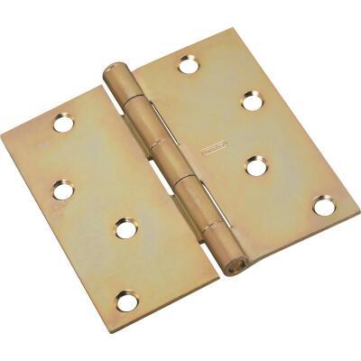 National 4 In. Square Satin Brass Tone Door Hinge