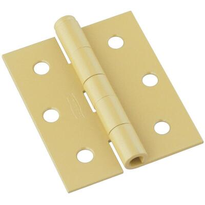 National 3 In. Square Corner Brass Screen Door Hinge (2-Pack)