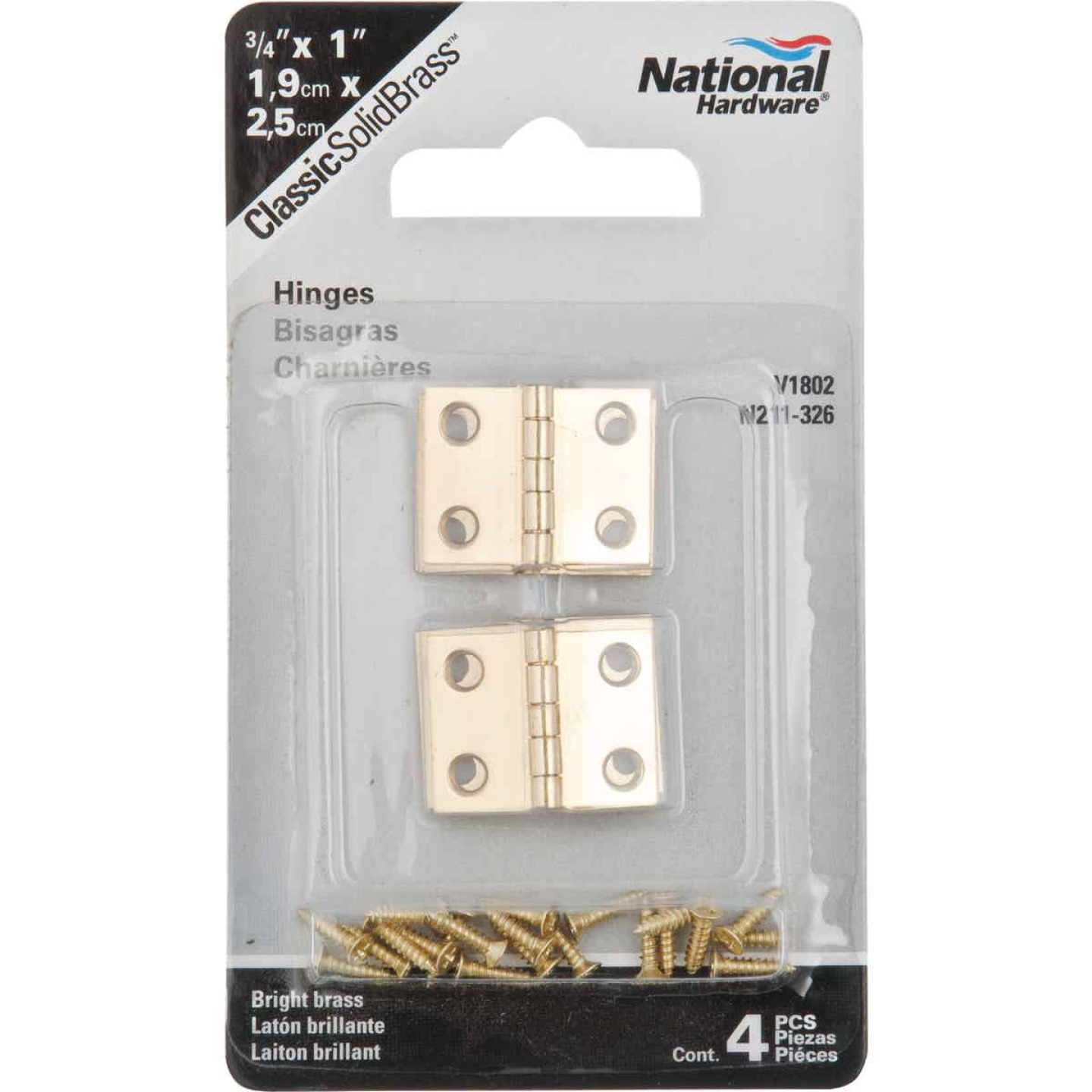 National 3/4 In. x 1 In. Brass Medium Decorative Hinge (2-Pack) Image 2