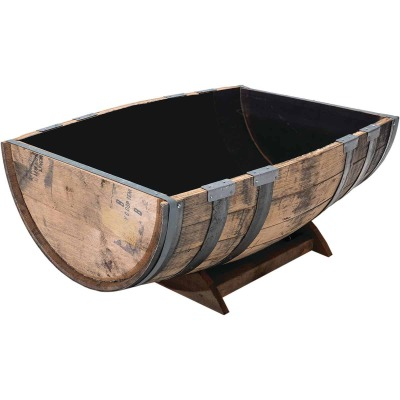 Real Wood Products 26 In. x 35 In. Oak Barrel Garden Planter