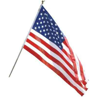 Valley Forge 3 Ft. x 5 Ft. Polycotton American Flag & 6 Ft. Pole Kit